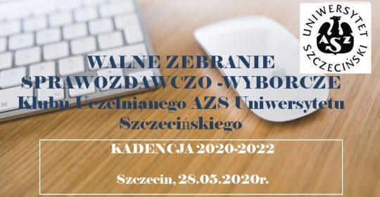 Konferencja Sprawozdawczo-Wyborcza Klubu Uczelnianego AZS Uniwersytetu Szczecińskiego na kadencję 2020-2022 w formule on-line